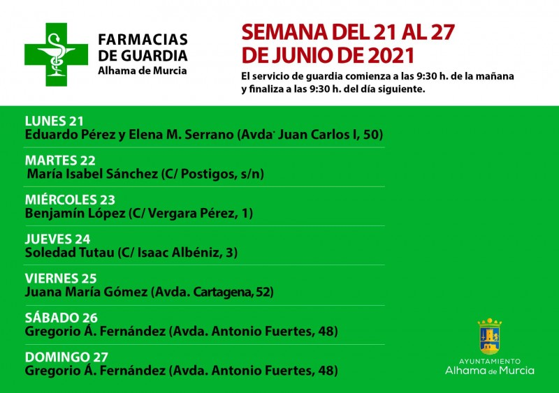 <span style='color:#780948'>ARCHIVED</span> - 24 hour pharmacy rota Alhama de Murcia 21-27 June