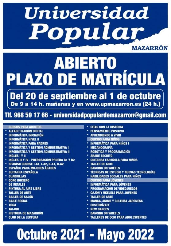 <span style='color:#780948'>ARCHIVED</span> - Enrolment opens for Universidad Popular in Mazarron on September 20
